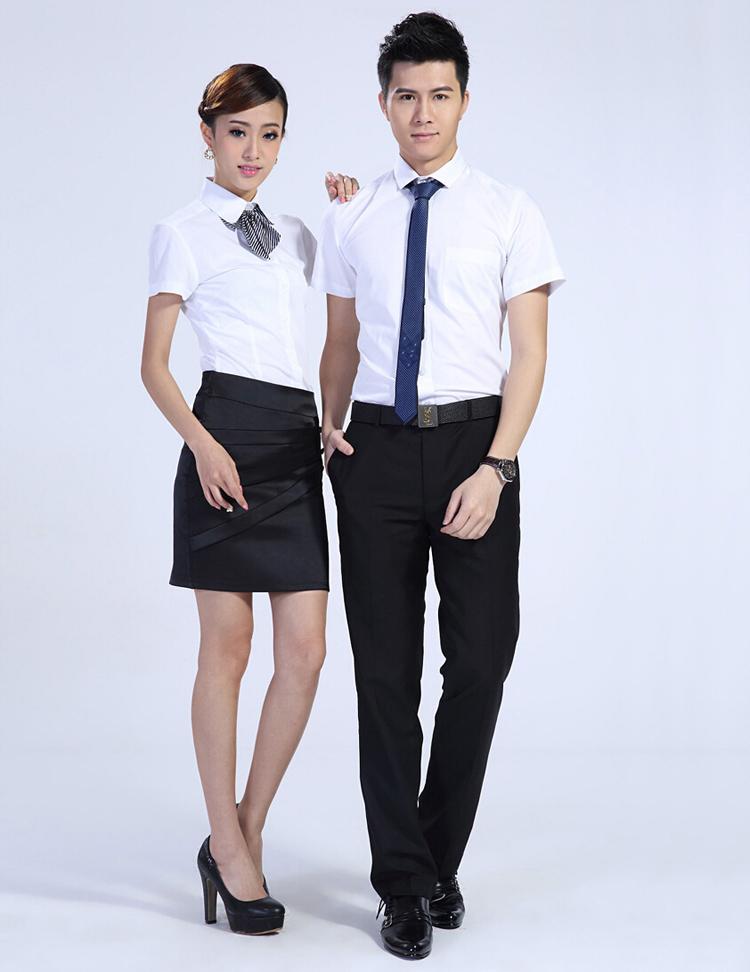 FXL01白色短袖衬衫订做职业装定制厂家