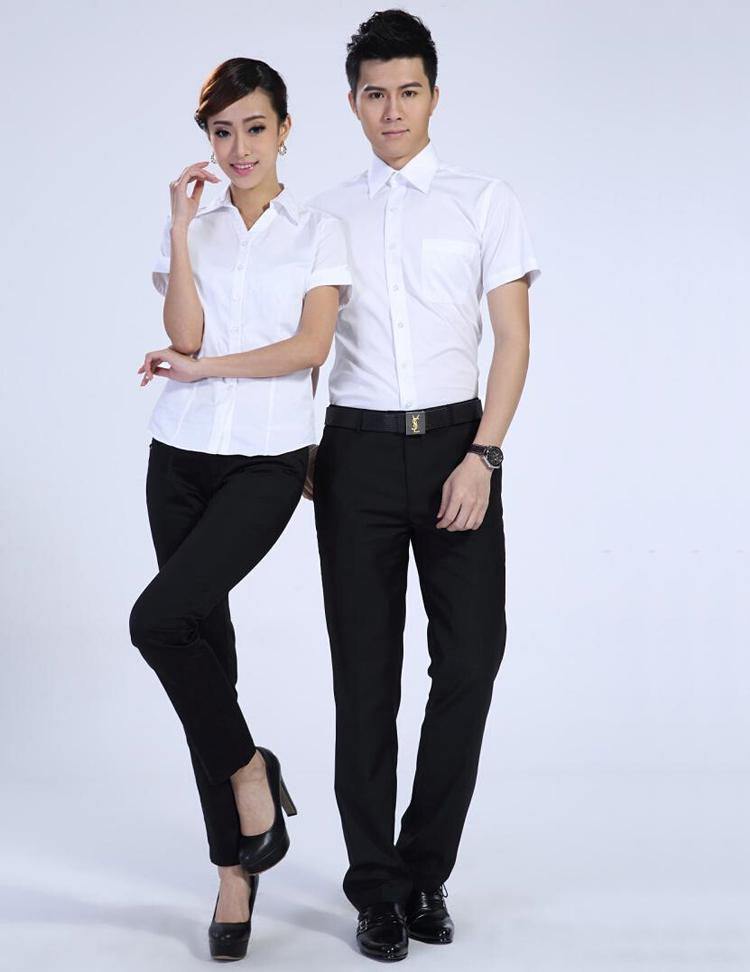 FXL02白色短袖衬衫订做职业装定制厂家
