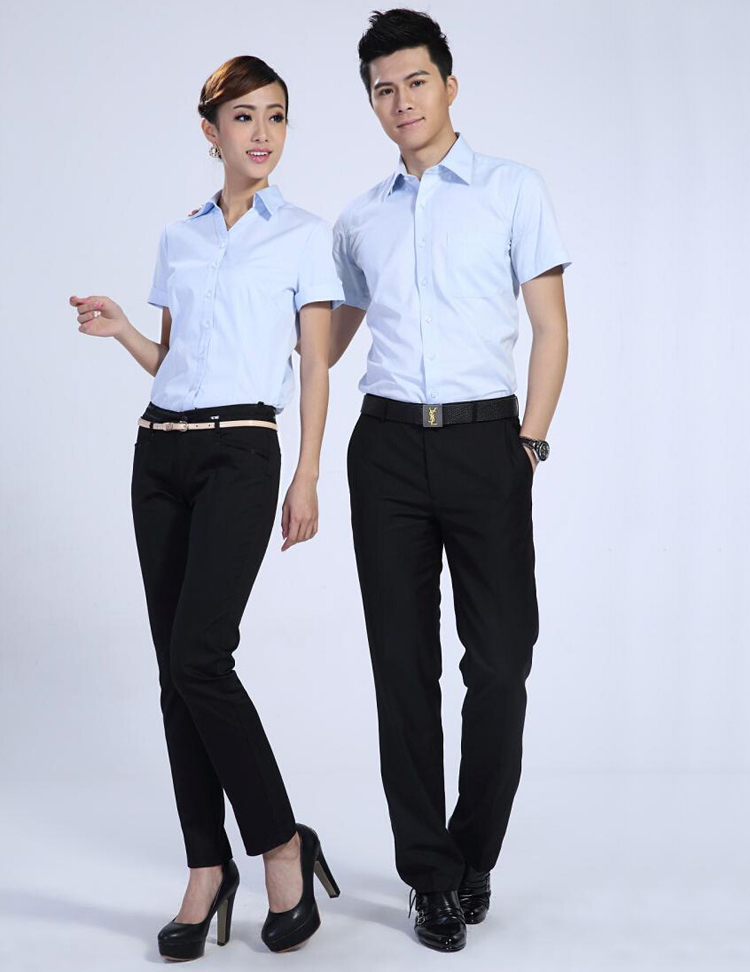 FXL04天藍短袖襯衫訂做職業裝定制廠家