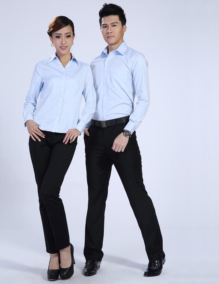 FXL05天蓝长袖衬衫订做职业装定制厂家