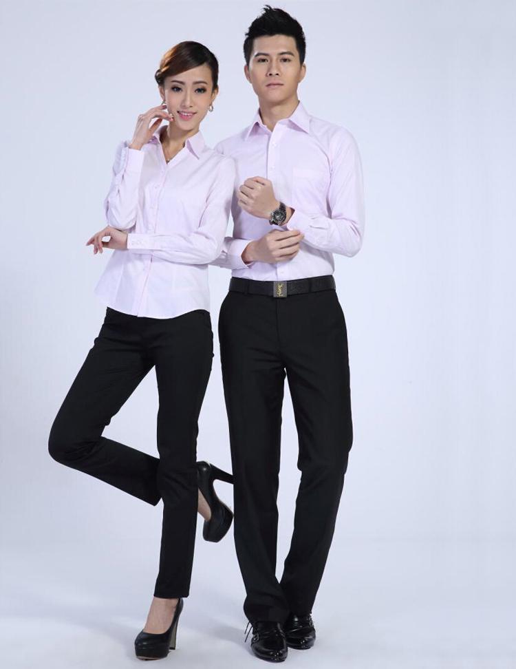 FXL06粉色长袖衬衫订做职业装定制厂家