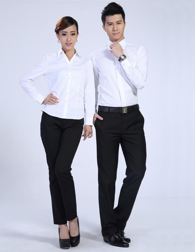 FXL07白色长袖衬衫订做职业装定制厂家