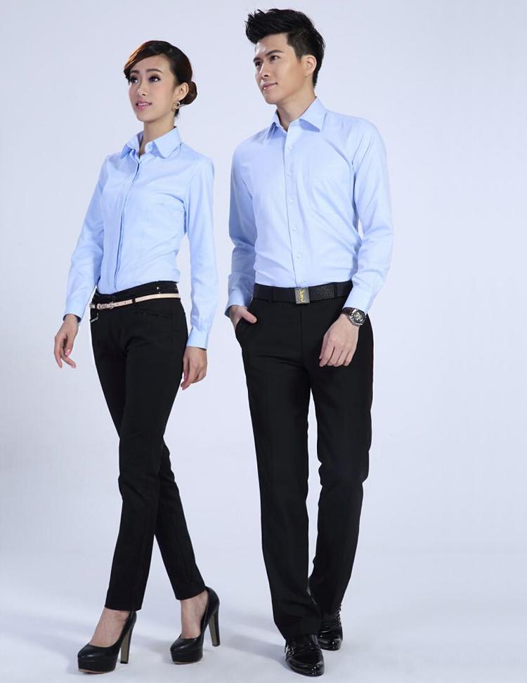 FXL09天蓝长袖衬衫订做职业装定制厂家