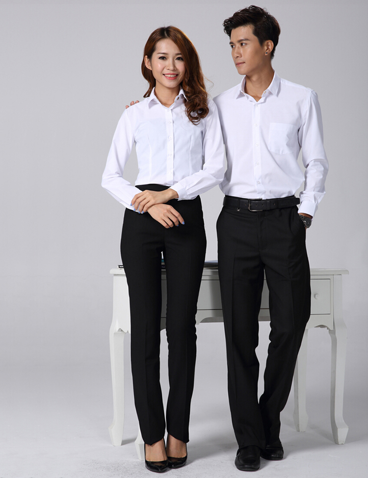 FXL11白色长袖衬衫订做职业装定制厂家
