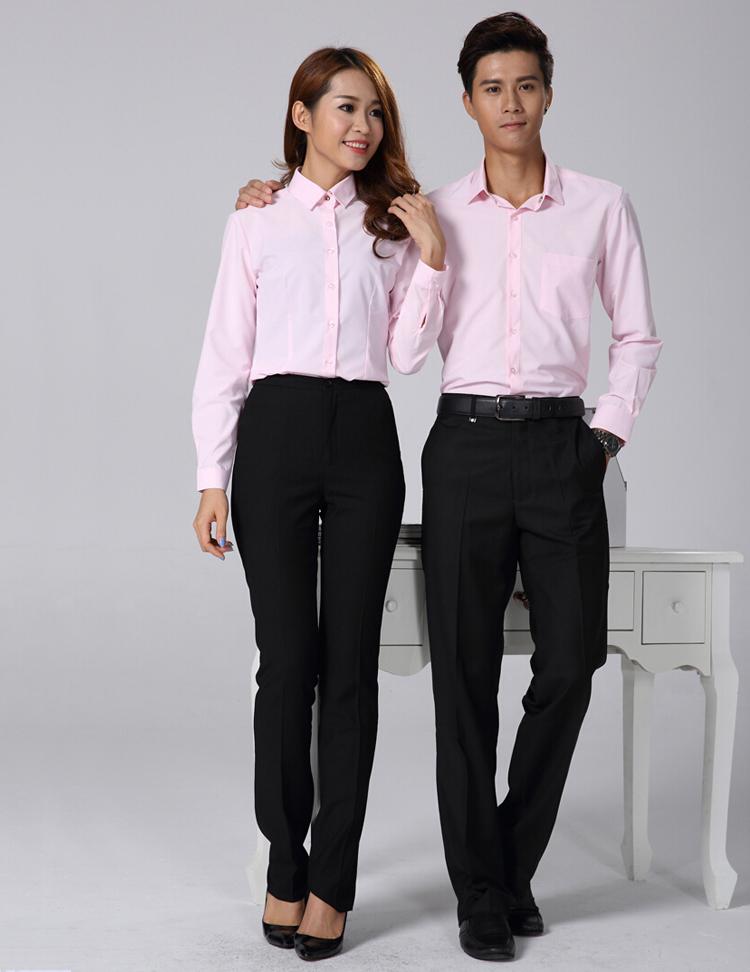 FXL12粉色长袖衬衫订做职业装定制厂家